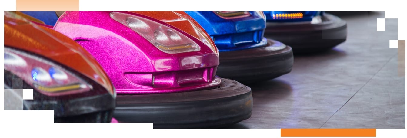 A shot of bumper car bumpers
