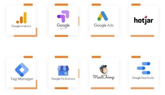 An assortment of logos of the analytics tools ROAR! uses: Google Analytics, Google Optimize, Google Ads, HotJar, Tag Manager, Google My Business, Mailchimp, Google Data Studio