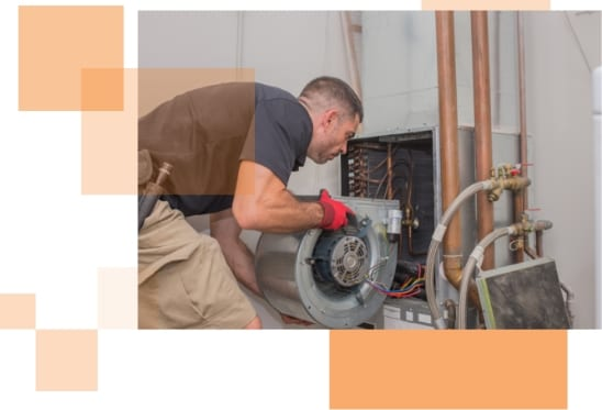 AC Repair technician looking at an AC unit