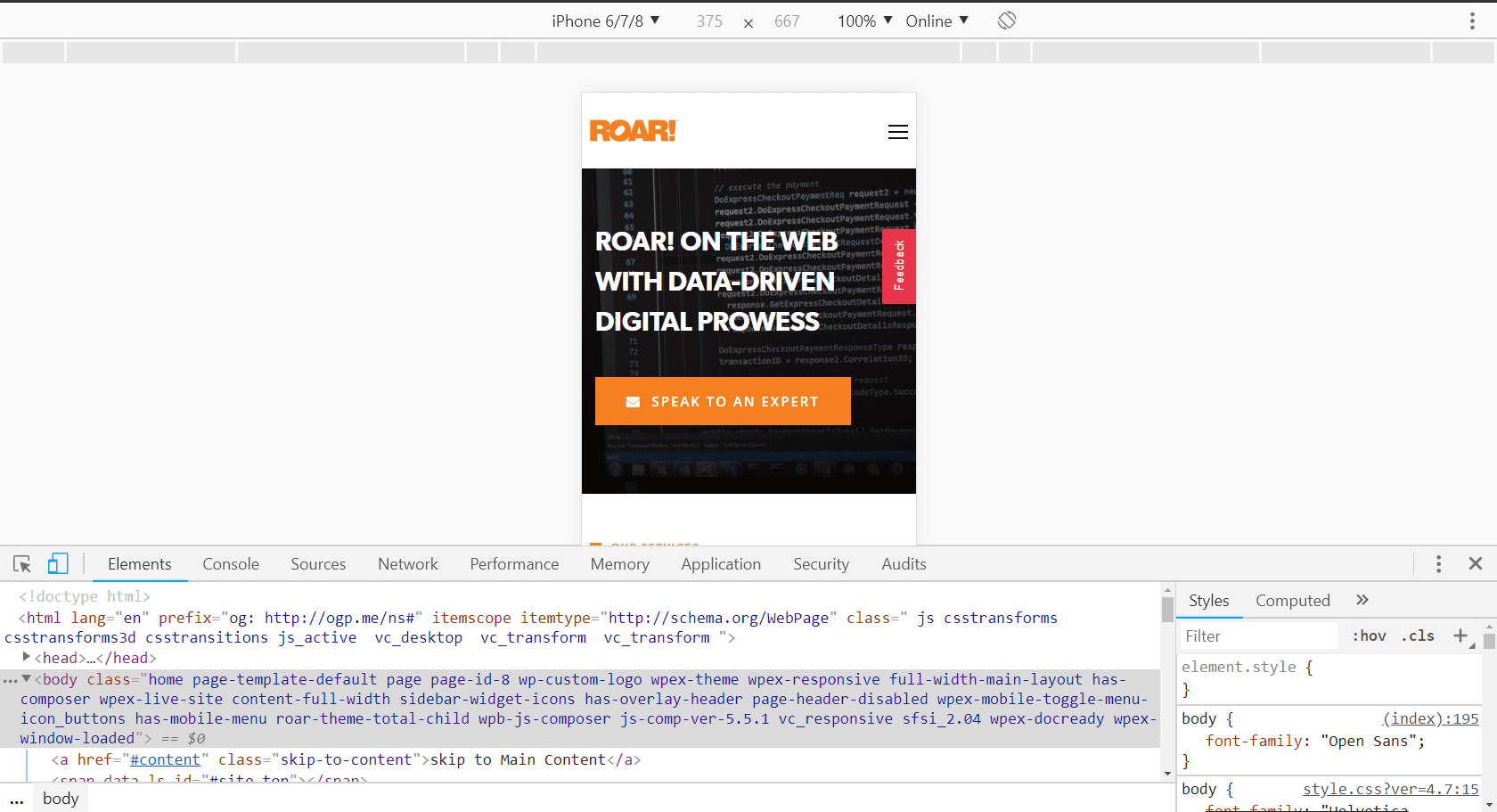 Example of developer using chrome dev tools to view site in phone sizes