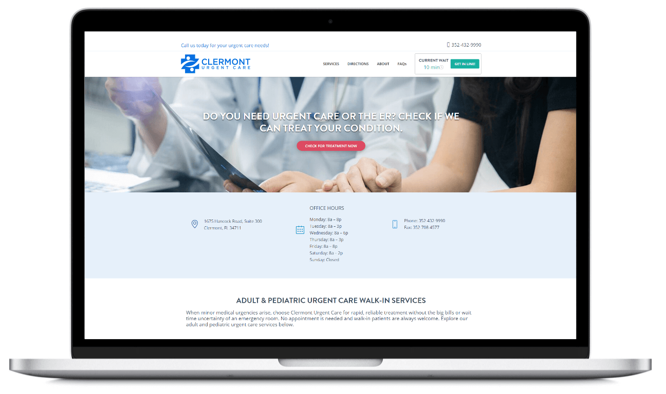 A shot of Clermont Urgent Care's launched website