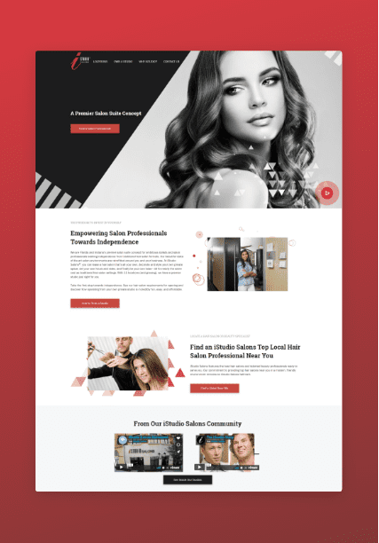 a screenshot of iStudio Salons redesigned and launched website homepage