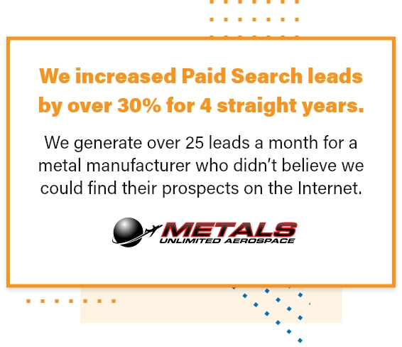 We Increased Paid Search Leads By Over 30% For 4 Straight Years For Our Client Metals Unlimited