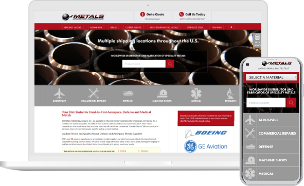 Metals Unlimited Aerospace website in desktop and mobile versions