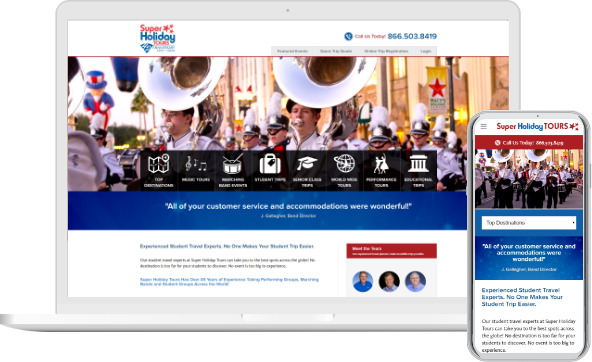 Super Holiday Tours Website in Desktop and Mobile versions