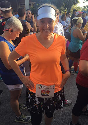 Pam attending a race event for runners